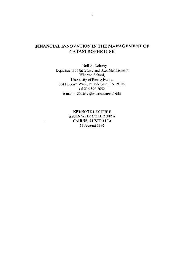 Financial Innovation in the Management of INNOVATION IN ...
